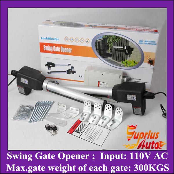 Stock Clearance ! 110V AC Input 300KGS Lift Capacity Swing Gate Opener, Double-Leafs Automation Gate Operator