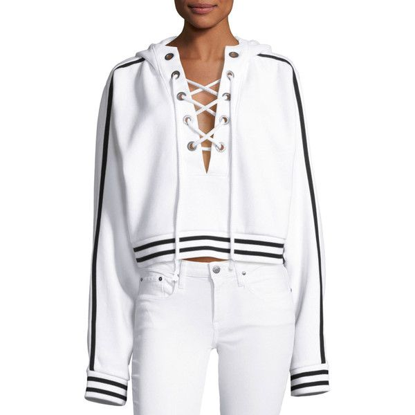 FENTY PUMA by Rihanna Lace-Up Hoodie Sweatshirt ($160) ❤ liked on Polyvore featuring tops, hoodies, white, pullover hoodie, cropped tops, lined hoodie, hooded sweatshirt and white crop top