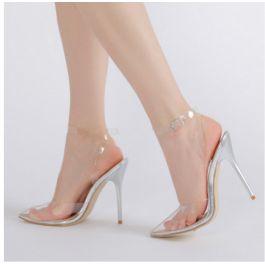 How about this shoe?  Share to get a coupon for all on FSJ Women's Silver Clear Stiletto Heels Closed Toe Ankle Strap Slingback Sandals