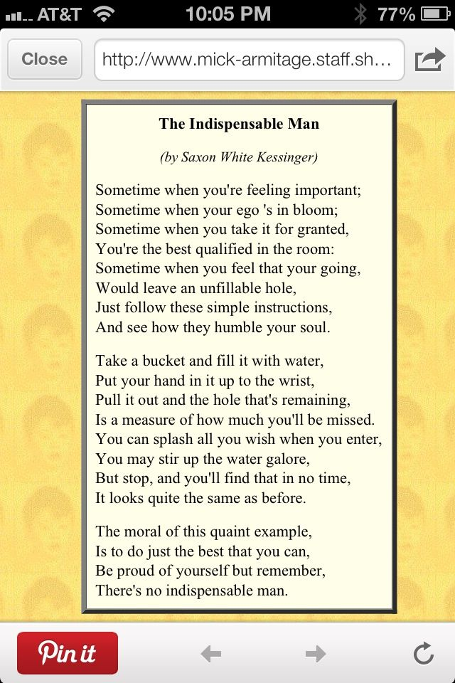 The Indespensable Man by Saxon White Kessinger | Poems | Wise quotes, Motivational thoughts, Quotes