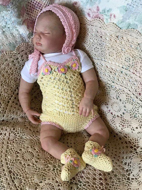 396c38ad93f3d Crochet Baby set Romper Bonnet Booties Baby girl Newborn Cotton ...