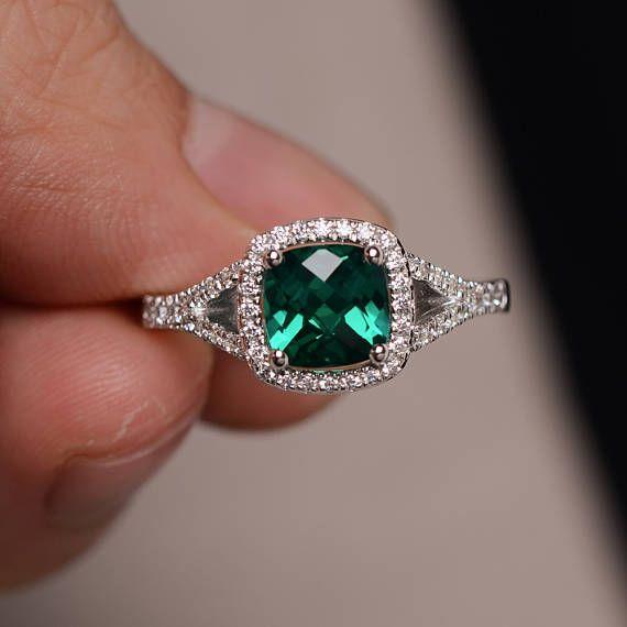 Anillo esmeralda banda anillo de compromiso plata