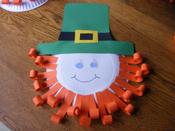 Leprachaun craft for kids using paper plate and construction paper.  So cute and easy! Happy St. Patricks Day!