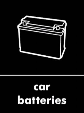 Car batteries waste recycling sign