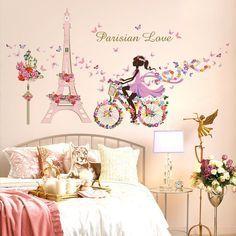 Romantic Paris Torre Eiffel Flor de Mariposa Etiqueta de La Pared Para Habitaciones de Niños Chica de Hadas de Equitación Wall Art Decal Decoración Mural