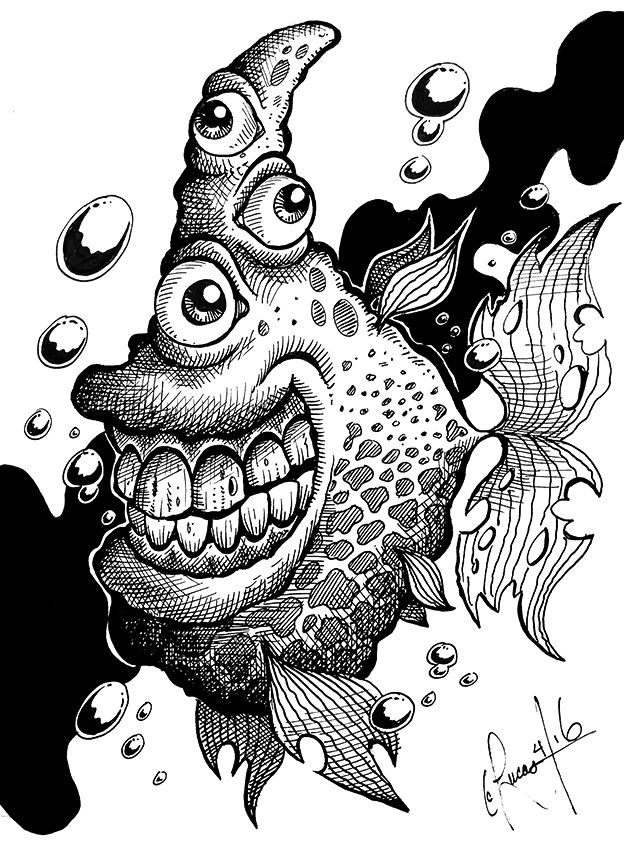 twisted fish - Psychedelic Coloring Book