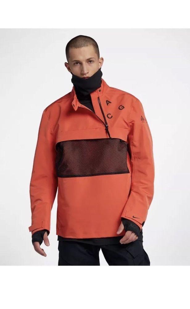 f93f9b5300 Nike NikeLab ACG ORANGE BLACK SHELL PULLOVER ACRONYM 914477-891 Size Large # Nike #Jacket