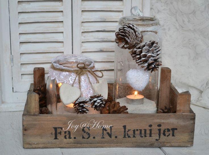 Kerst setje windlichten in een kistje