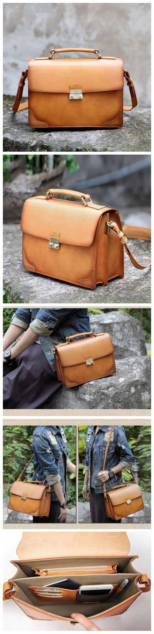 Handmade Brown Leather Messenger Handbag Crossbody Bag Small Satchel AK07 Overview: Design: Vintage Vegetable Tanned Leather Messenger In Stock: 4-5 days For Making Include: Only Messenger Bag Custom: