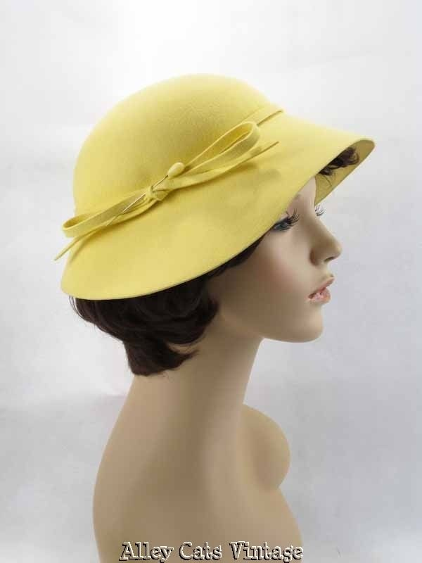 Vintage 1970s 70s Hat Lemon Yellow Wool Wide Brim by Madcaps $40.00