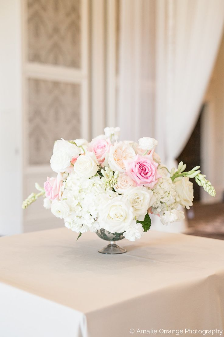 elegant and traditional large low centerpieces overflowing with white ivory and pink roses white - Blush Garden Rose Bouquet