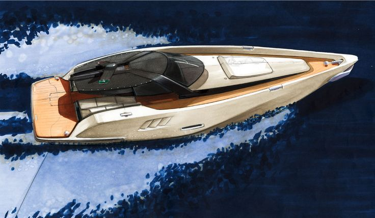 Yacht Design Sketch like Mercedes Benz Style.