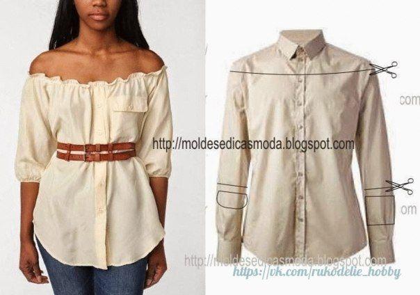 Materiales gráficos Gaby: Otra idea con camisa de hombre transformarla en una bella blusa de mujer