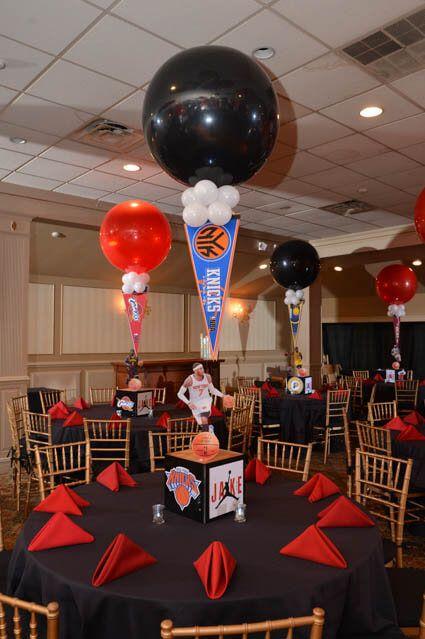 Sports Themed Centerpieces   Basketball Themed Bar Mitzvah Centerpiece