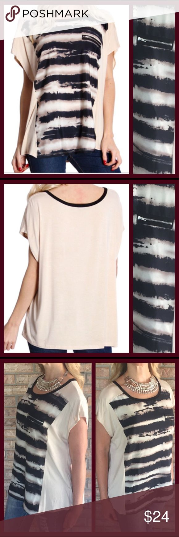 """❣LAST ONE❣Funky Fun Print Top w/Zipper Large You will love adding this funky fun top to liven up your wardrobe!  Taupe with black trendy abstract print panel & faux zipper accent. Soft & flattering fit.   Shell 95% Rayon 5% Spandex  Panel Polyester   Small armpit to armpit 21"""" 21.5L Medium armpit to armpit 22"""" 23.5L Large armpit to armpit 25"""" 24L XL armpit to armpit 25.5"""" 25L Flawless Tops Blouses"""