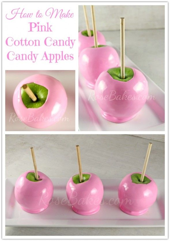 How to Make Soft Pink Cotton Candy Candy Apples | http://rosebakes.com/how-to-make-soft-pink-cotton-candy-candy-apples/