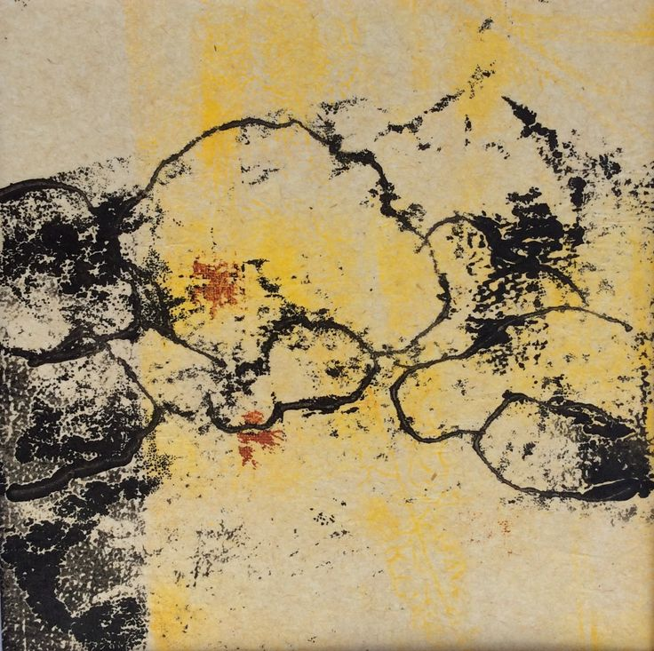 Juliet D Collins, Prom Rocks monoprint on recycled paper