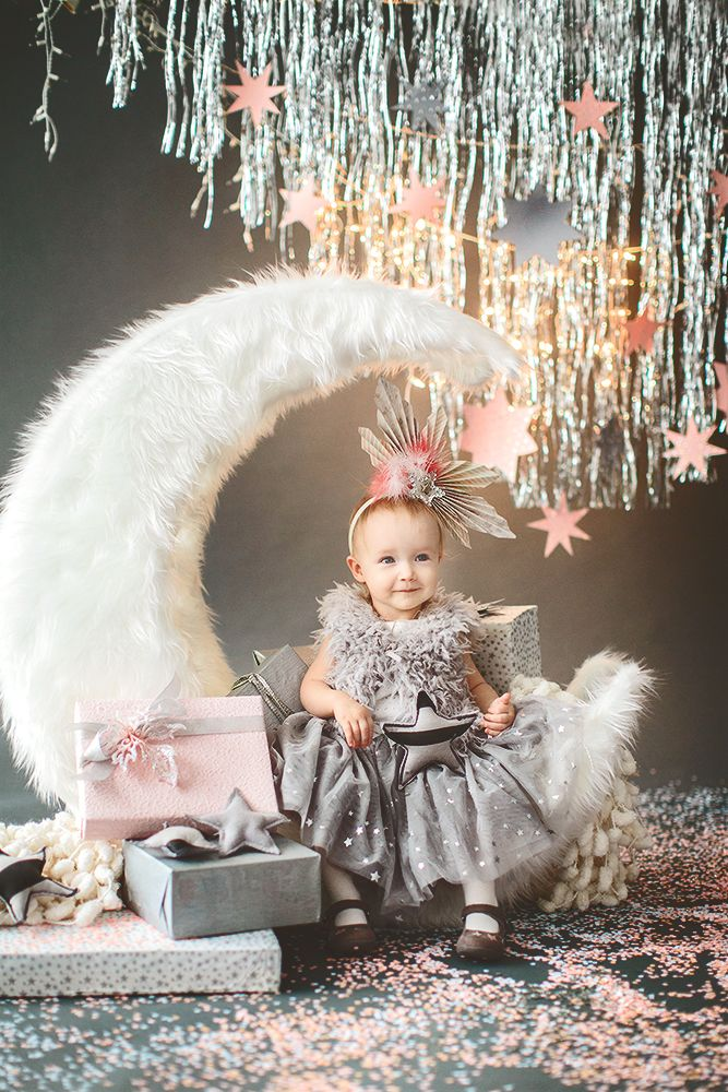 first birthday moon star silver pink decor декоратор Юлия Штейзель decor by Julia Shteyzel