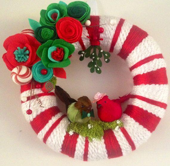 Christmas Yarn Wreath Modern Christmas Wreath by Lizzyandlois