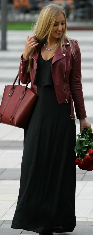 Bordeaux Biker Jacket Black Maxi Dress Fall Inspo by Style and Blog