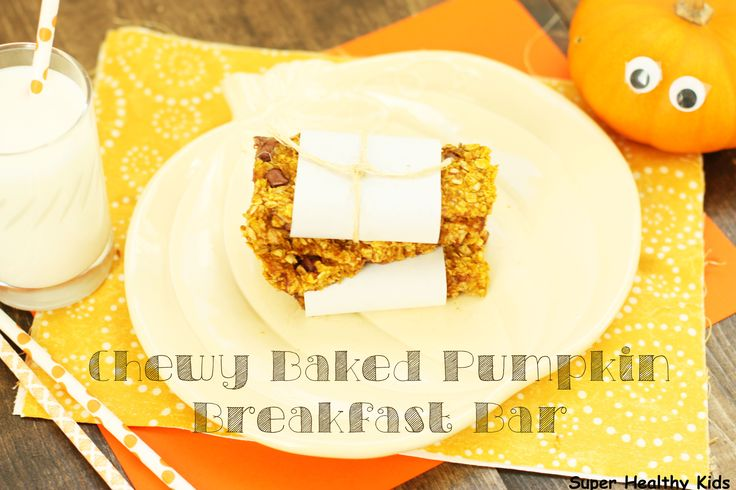 Chewy Baked Pumpkin Breakfast Bar. A simple recipe for homemade breakfast bars that the whole family will love.