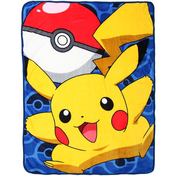 Pokemon Pikachu Comfy Throw | Hot Topic ($18) ❤ liked on Polyvore featuring home, bed & bath, bedding, blankets, pokemon blanket and pokemon throw blanket