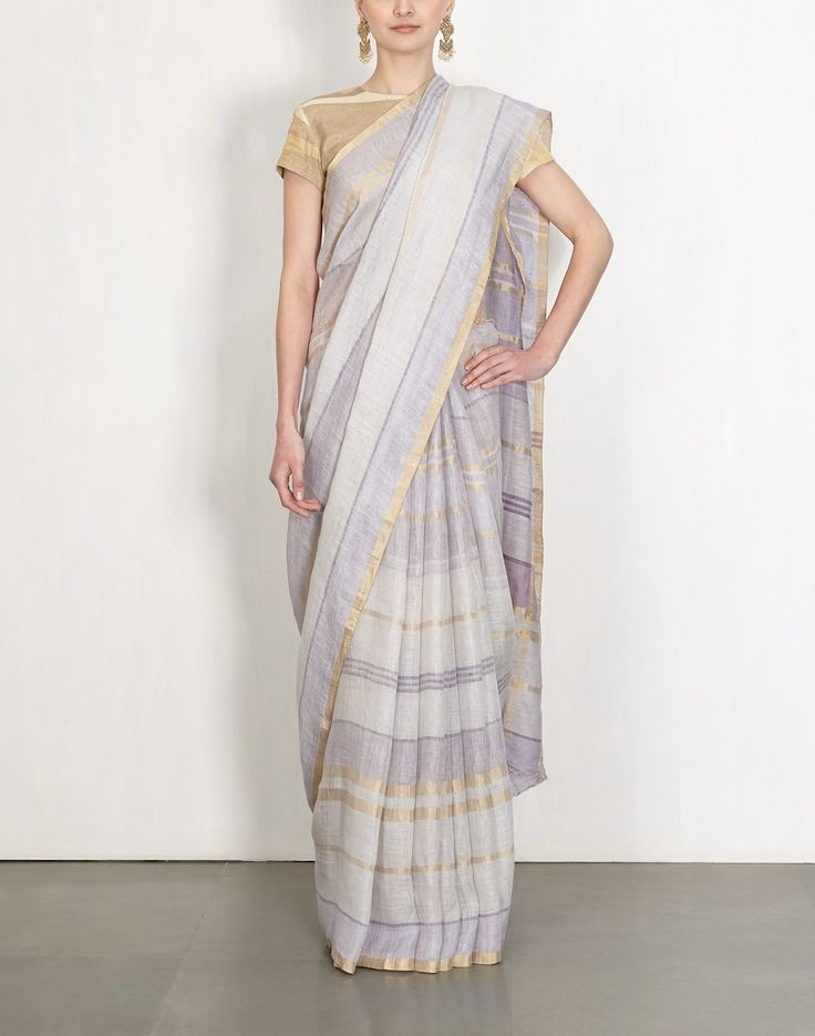 Gold Grid Summer Check Linen Sari-Anavila- img1