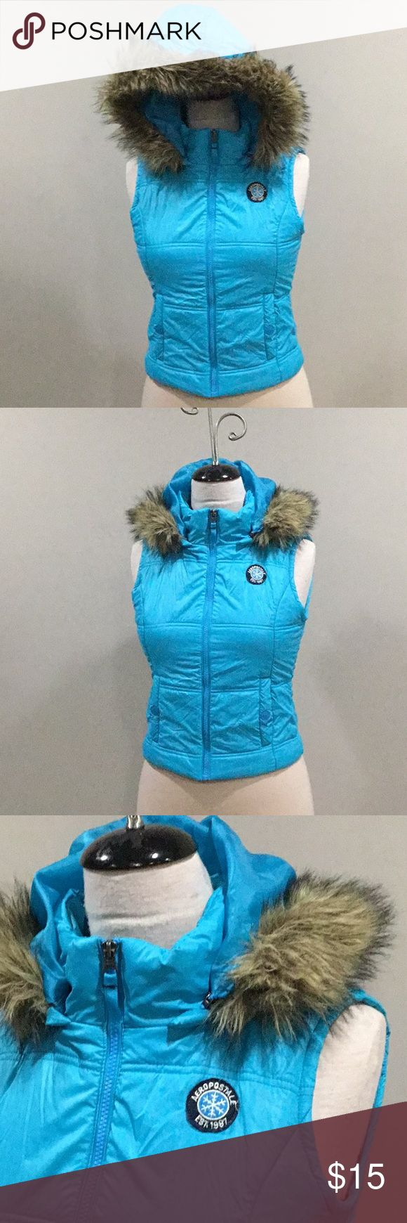 AEROPOSTALE PUFFER VEST BLUE SIZE M GREAT CONDITION PUFFER VEST. HOOD ZIPS OFF SO FAUX FUR DOES NOT GET DESTROYED IN WASHER. NO VEST Aeropostale Jackets & Coats Vests
