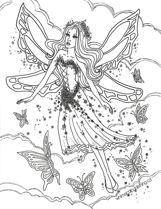 Butterfly Fairy Fae Fantasy Myth Mythical Mystical Legend Elf Wings Elves Faries Coloring Pages