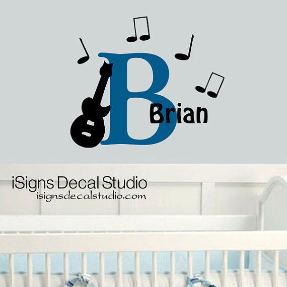 GUITAR MUSIC DECAL  Music Nursery Decal   by iSignsDecalStudio, $28.50