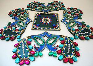 5P Indian Wood Peacock Green Blue White Kundan Rangoli Floor Wall Wedding Diwali | eBay