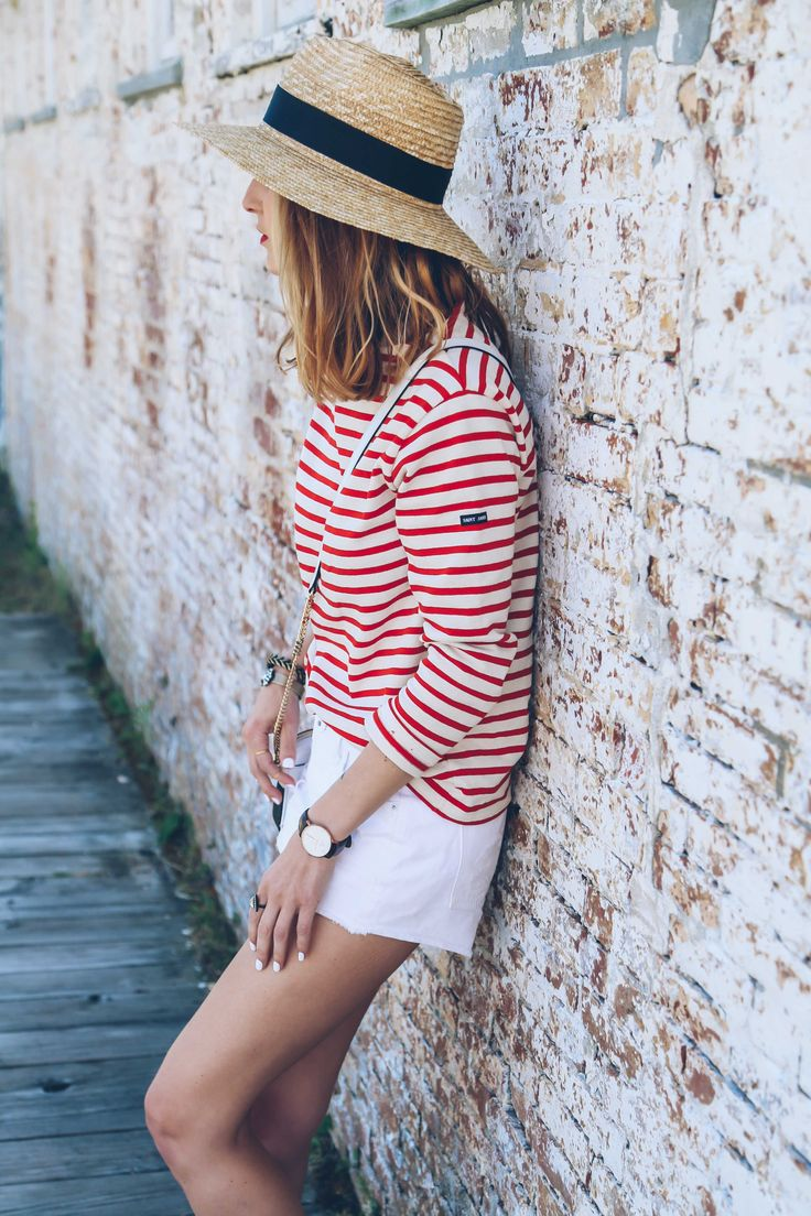 Saint james striped tee and white jean shorts style for St james striped shirt