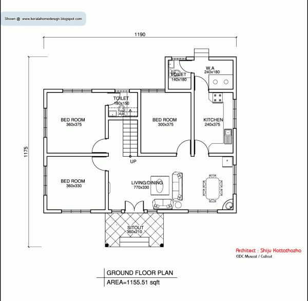 Kerala style single floor house plan 1155 sq ft Home plan for 1200 sq ft indian style