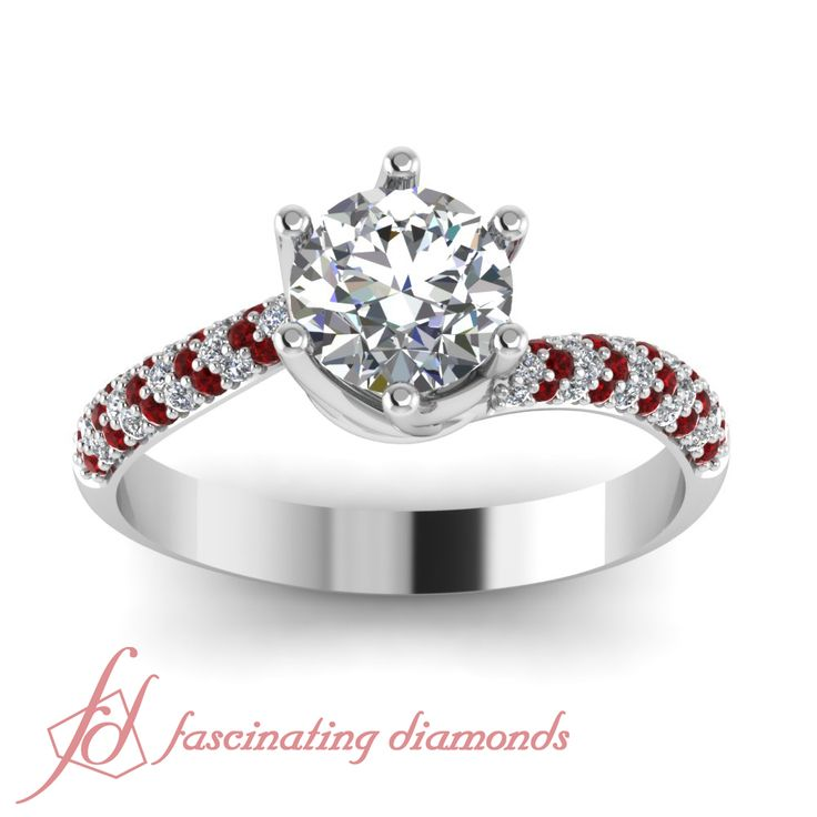 Round Cut Diamonds and Red Ruby 14K White Gold Side Stone Engagement Ring in Pave Setting || Swirl Pave Ring