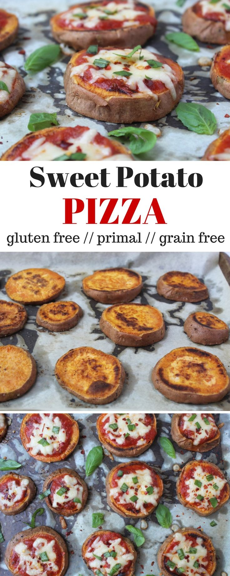 Sweet Potato Pizza - a healthy and easy way to make pizza, these Sweet Potato Pizzas use only 5 ingredients and are primal, naturally gluten free, and grain free! - Eat the Gains