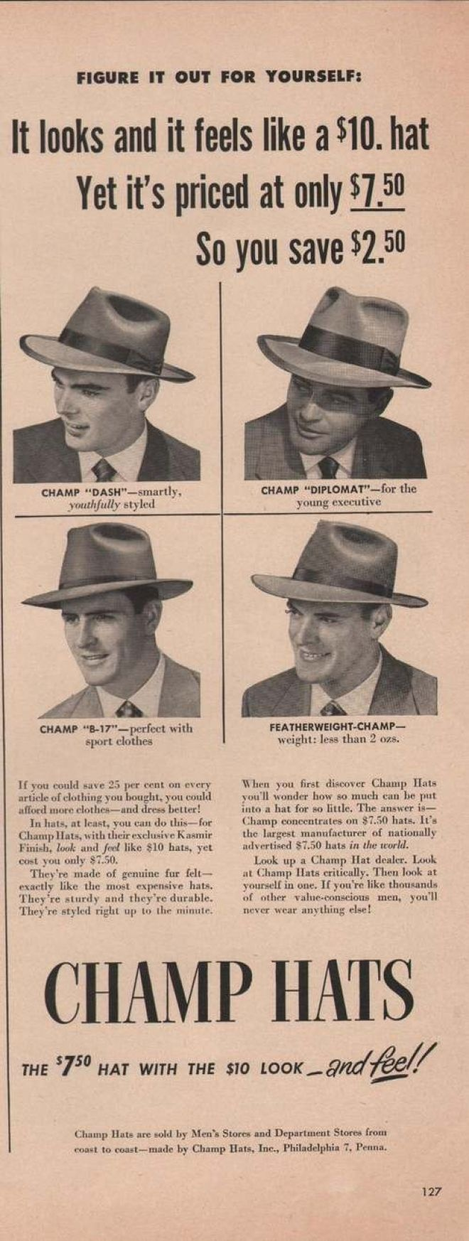 Champ Mens Dress Hats (1949)-And a math lesson included!