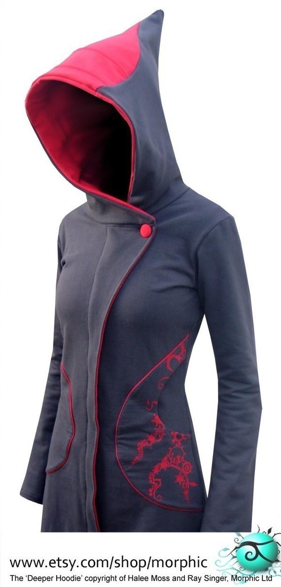 Womens Zip Coat 'Long Deeper' Steel/Red Cogs Print by Morphic, $294.00