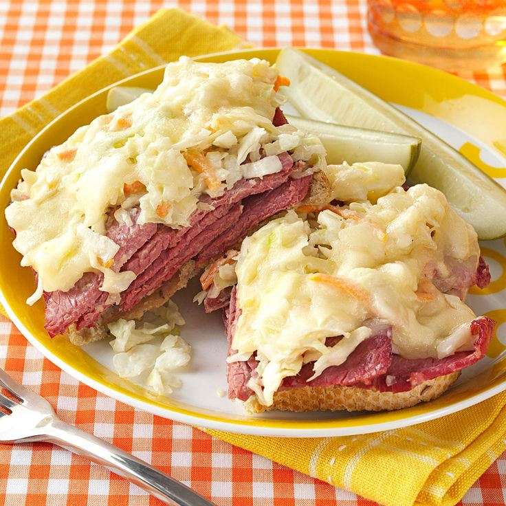 Corned Beef and Coleslaw Sandwiches Recipe -These open-faced sandwiches with layers of savory beef, creamy slaw and melty Swiss take only 15 minutes to create. —Marilou Robinson, Portland, Oregon