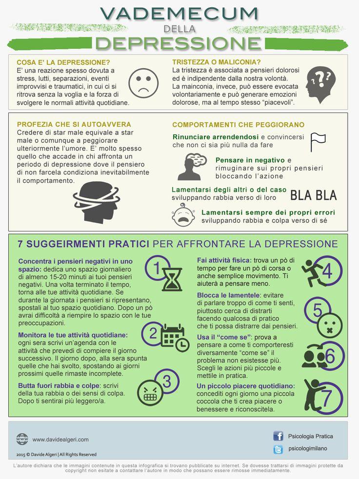 Vademecum della depressione: cosa è? Cosa differenzia tristezza dalla mailinconia? 7 suggerimenti per affrontarla la depressione.  #infografica #depressione #umorenero