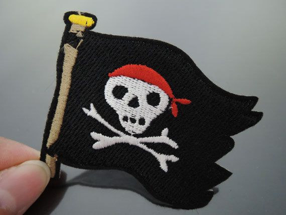 Pirate Patches - Iron on Patches or Sewing on Patch Black Corsair Skull Patches Embroidered Patch Pirate Embellishment Size : about 65mm x 55mm