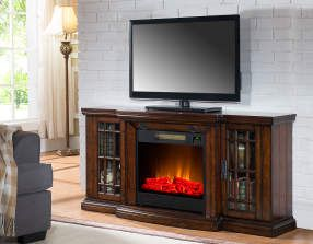 """60"""" Low Profile Electric Fireplace with Bluetooth® Speakers   Big Lots for the Basement"""