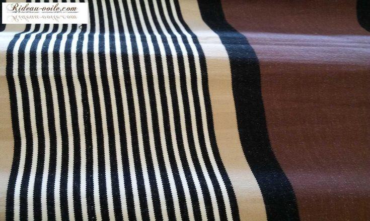 Toile coton rideau rayé marron blanc