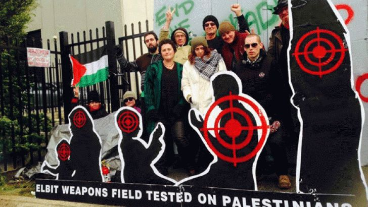 08 July 2015 | James Crafti Share this article: Protesters shut down four factories owned by Israeli weapons manufacturer Elbit Systems on 6 July. The actions were coordinated to mark the first ann... http://winstonclose.me/2015/07/10/activists-shut-down-israeli-arms-company-written-by-james-crafti-red-flag/