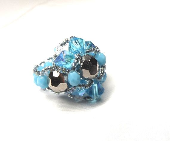 Gift for Her on  Vanentine's day Turquoise blue ring  by Mamyblue, $30.00