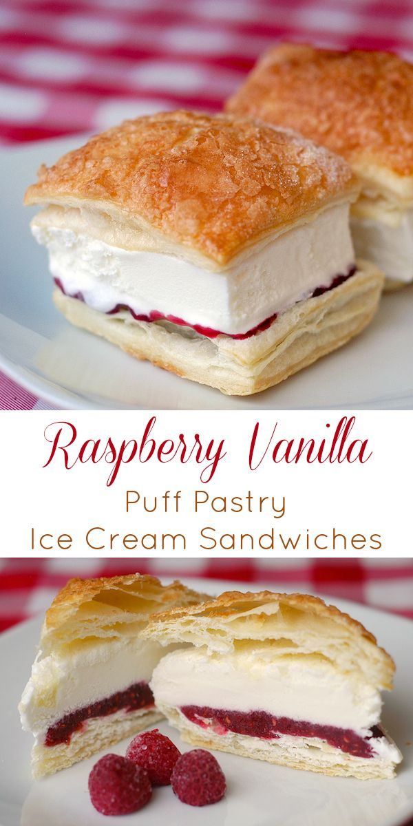 Raspberry Vanilla Puff Pastry Ice Cream Sandwiches - with basically only 4 ingredients and using frozen puff pastry, these make ahead little desserts are ideal for parties or any time you need to have a last minute dessert on hand.