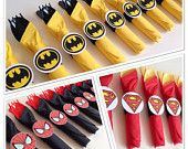 Super Hero Birthday Party Cutlery, wrapped utensils, party supplies