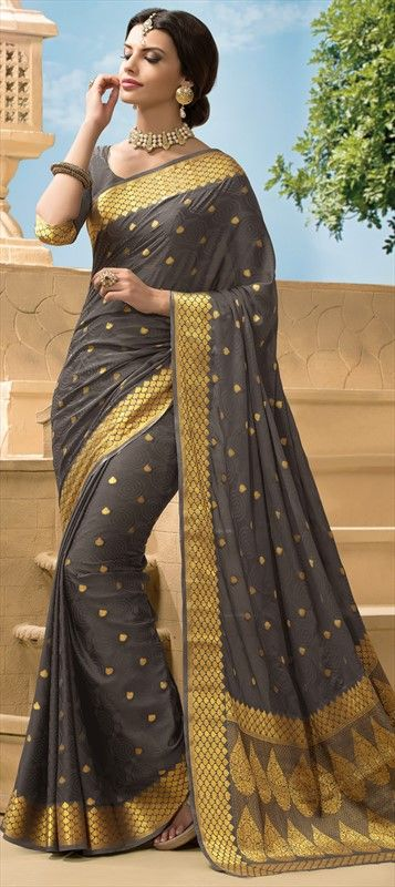175571 Black and Grey  color family Silk Sarees in Crepe, Silk fabric with Thread, Zari work   with matching unstitched blouse.