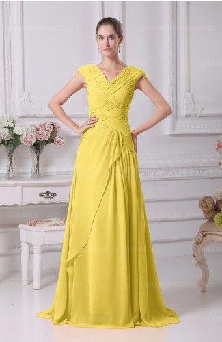Pale Yellow Antique A-line V-neck Lace up Chiffon Floor Length Evening Dresses