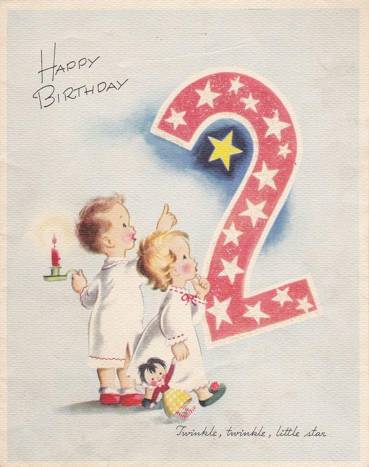 happy birthday 2 year old- twinkle, twinkle- wipco- 1950s vintage greeting card- used   happy
