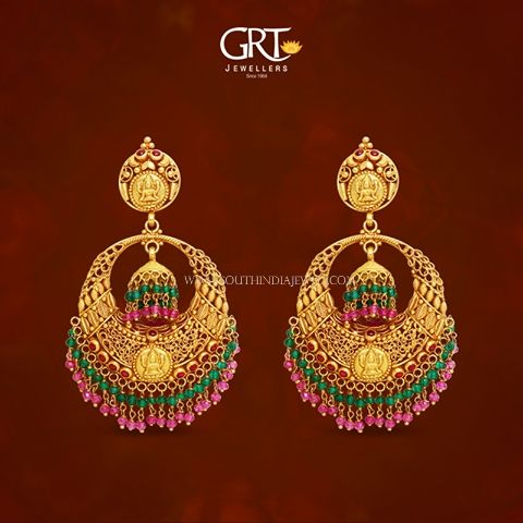 Gold Chanbdali Earrings from GRT Jewellers, Gold Antique Earrings from GRT, Gold Earrings from GRT 2017.